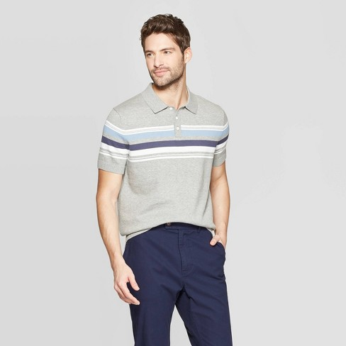 Men's Standard Fit Short Sleeve Sweater Polo Shirt - Goodfellow & Co™ Cement - image 1 of 3