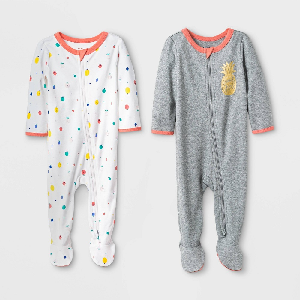 Baby Girls' 2pk Pineapple and Fruits Basic Zipper Sleep 'N Play Pajama - Cat & Jack Gray/White 3-6M
