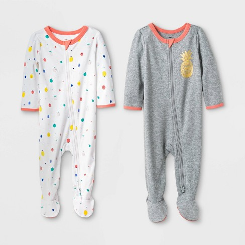 44792debfc9 Baby Girls  2pk Pineapple And Fruits Basic Zipper Sleep  N Play ...