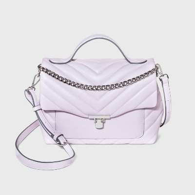 Quilted Top Handle Turn Key Closure Satchel Handbag - A New Day™