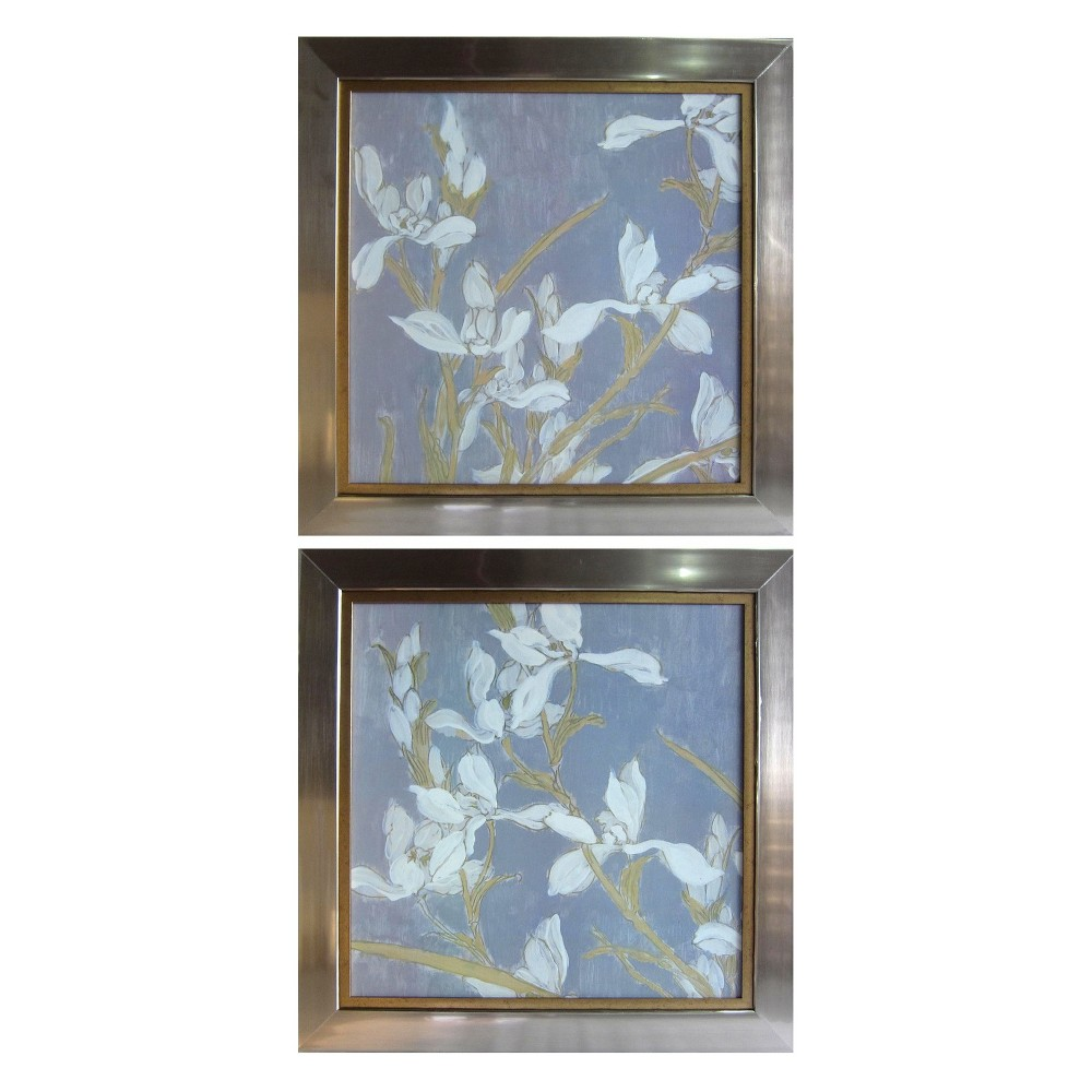 34.3 2pc Contemporary Floral Framed Gel Coated Decorative Wall Art Silver - StyleCraft
