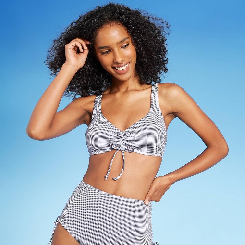 Women 39 S Gingham Cinch Front Bikini Top Kona Sol 8482 Navy S