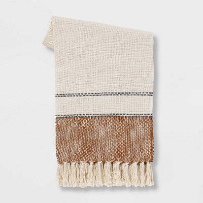 "50""x60"" Border Striped Cotton Throw Blanket Bronze - Threshold™"