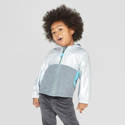Genuine Kids® from OshKosh Toddler Boys' Metallic Colorblock Windbreaker Jacket - Silver 18M
