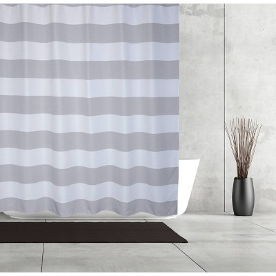Queen Striped Waffle Linen Look Shower Curtain Gray - Moda at Home