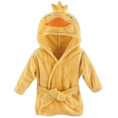 Hudson Baby Infant Plush Animal Face Bathrobe, Yellow Duck, 0-9 Months