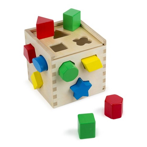 Melissa & Doug Shape Sorting Cube - Classic Wooden Toy With 12 Shapes - image 1 of 4