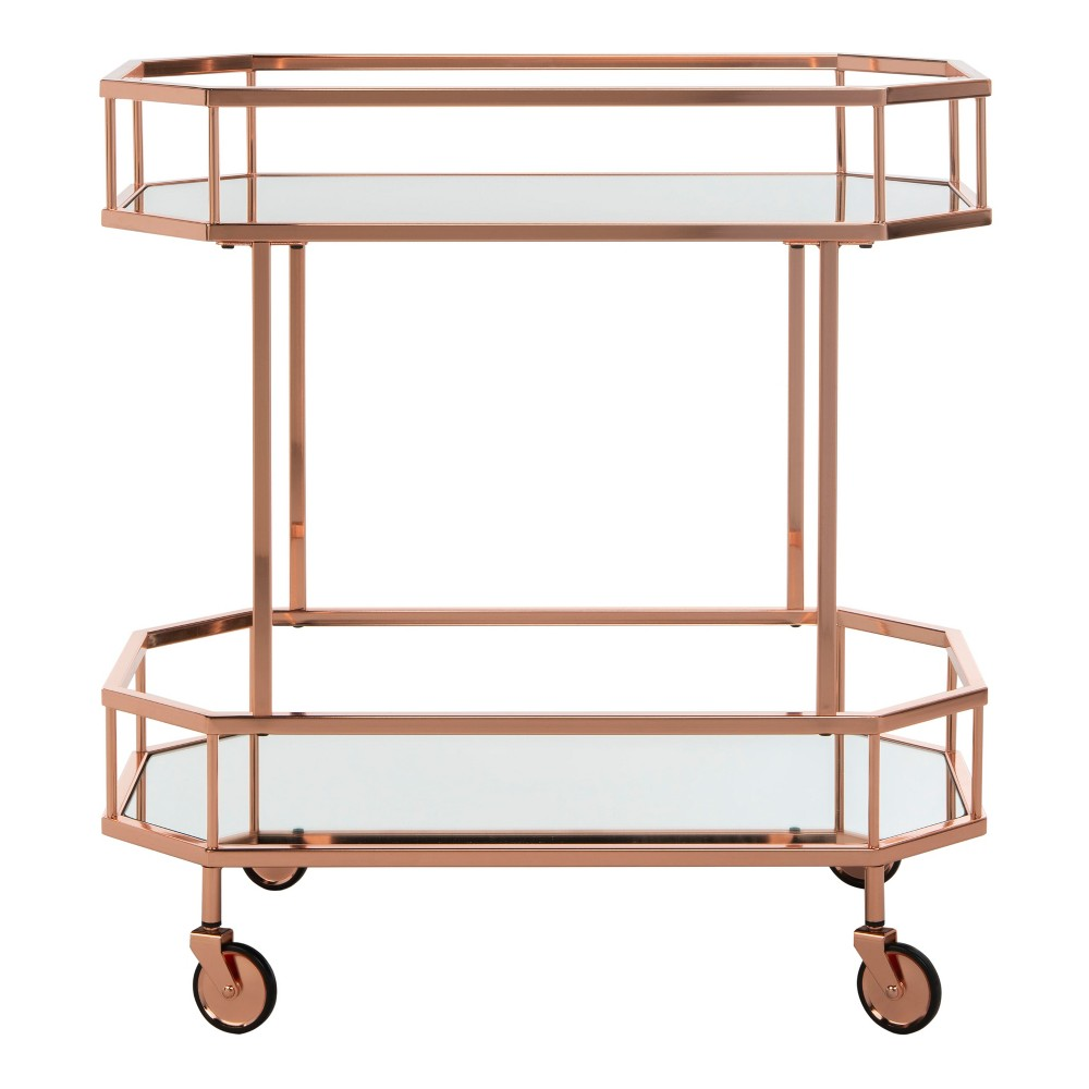 Silva 2 Tier Octagon Bar Cart Rose Gold - Safavieh
