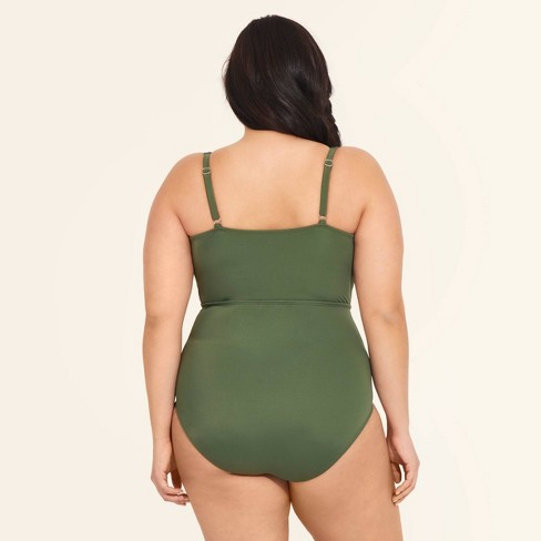 fa072b3a Women's Slimming Control Macrame One Piece Swimsuit - Beach Betty by  Miracle Brands Olive