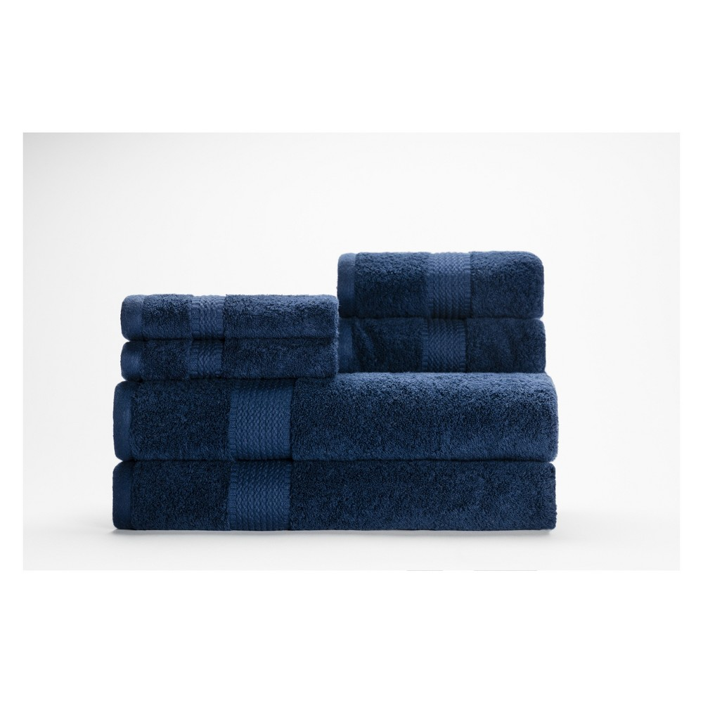 Image of 6pc Cromwell Navy (Blue) Bath Towels Sets - Caro Home