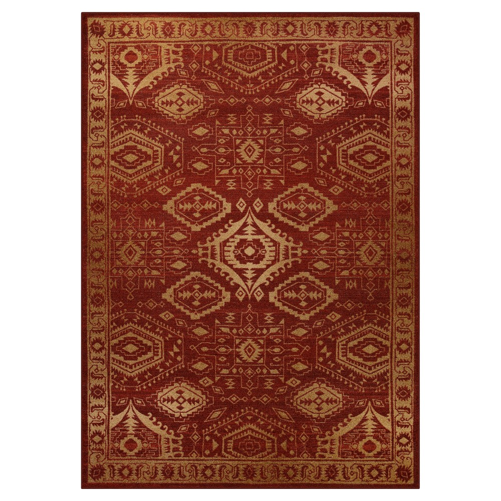 Image of 7'X10' Tribal Design Tufted Area Rug Red - Maples