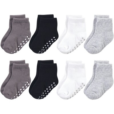 Touched by Nature Baby and Toddler Boy Organic Cotton Socks with Non-Skid Gripper for Fall Resistance, Solid Black