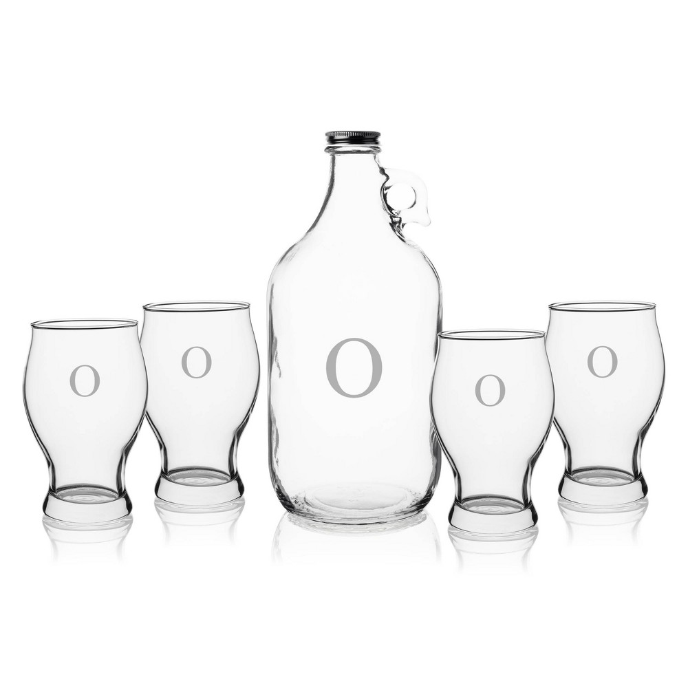 5pc Glass Craft Beer Monogrammed Growler Set O Cathy 39 S Concepts