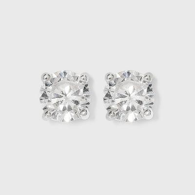 Women's Sterling Silver Cubic Zirconia Stud Earrings - A New Day™ Silver/Clear