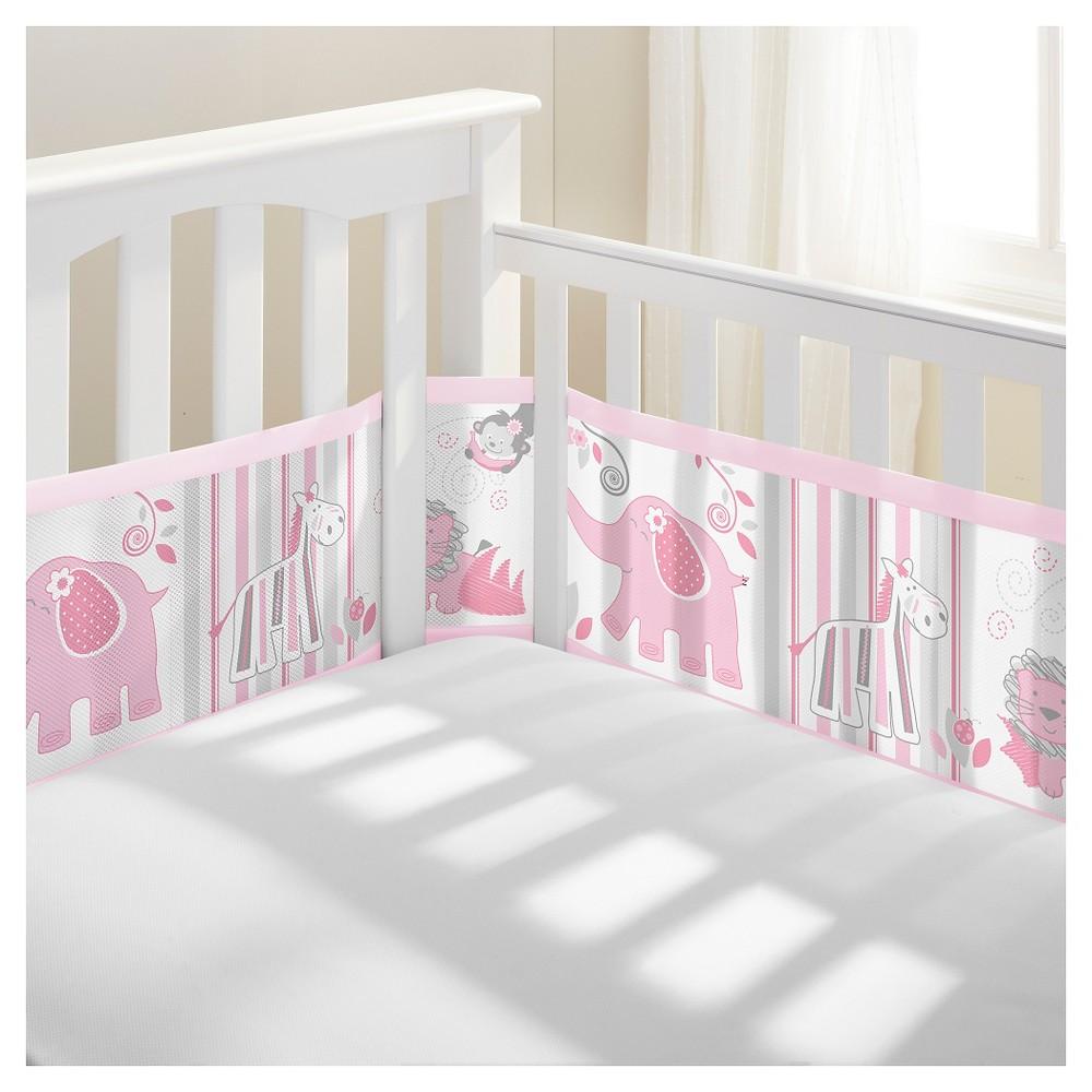 BreathableBaby Mesh Crib Liner - Safari Fun Pink