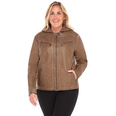 Sebby Collection Women's Plus Faux Leather Racing Jacket with Detachable Cable Knit Hood