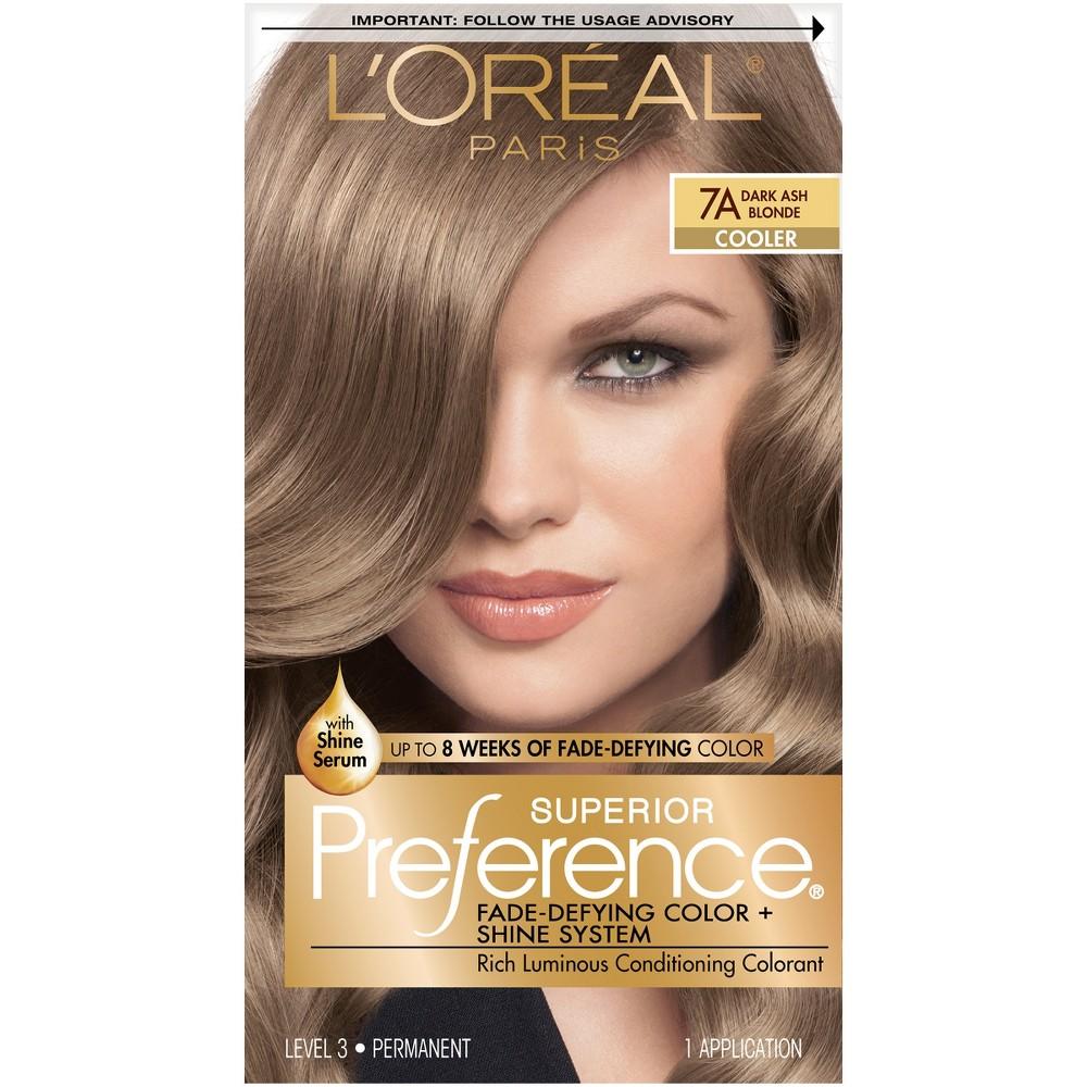 L'Oreal Paris Superior Preference Fade-Defying Color + Shine System - 7A Dark Ash Blonde - 1 kit, Dark Ash Blonde 7a