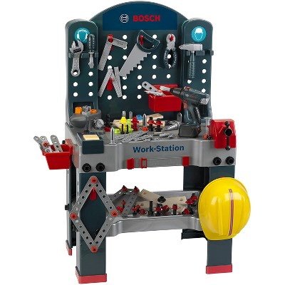Theo Klein Bosch Jumbo Work Station Workbench Premium DIY Children's Toy Toolset Kit with Accessories for Kids Ages 3 Years Old and Up