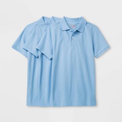 Boys' 3pk Short Sleeve Stretch Pique Uniform Polo Shirt - Cat & Jack™ Light Blue
