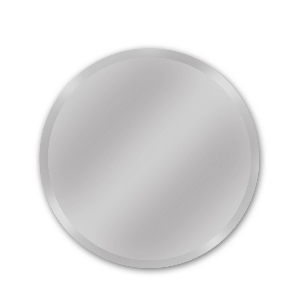 "Image of ""24"""" Westport Round Frameless Beveled Glass Wall Mirror Silver - Alpine Art & Mirror"""