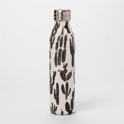 20oz Venti Air Transfer Stainless Steel Portable Water Bottle Black/White Cactus - Room Essentials™
