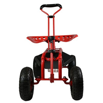 Attirant Rolling Garden Cart With Extendable Steering Handle, Swivel Seat And Basket    Red   Sunnydaze Decor : Target