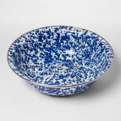Stainless Steel Round Serving Bowl 4qt Speckled Blue/White - Threshold™