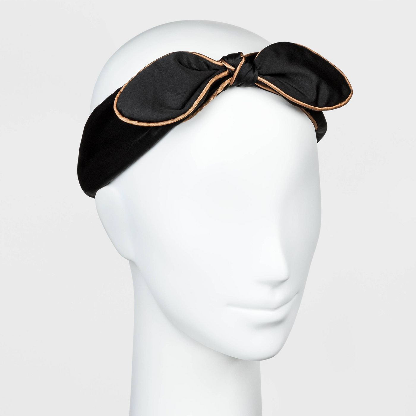 Maple Satin Bow with Piped Trim Headwrap - A New Day™ Black - image 1 of 2
