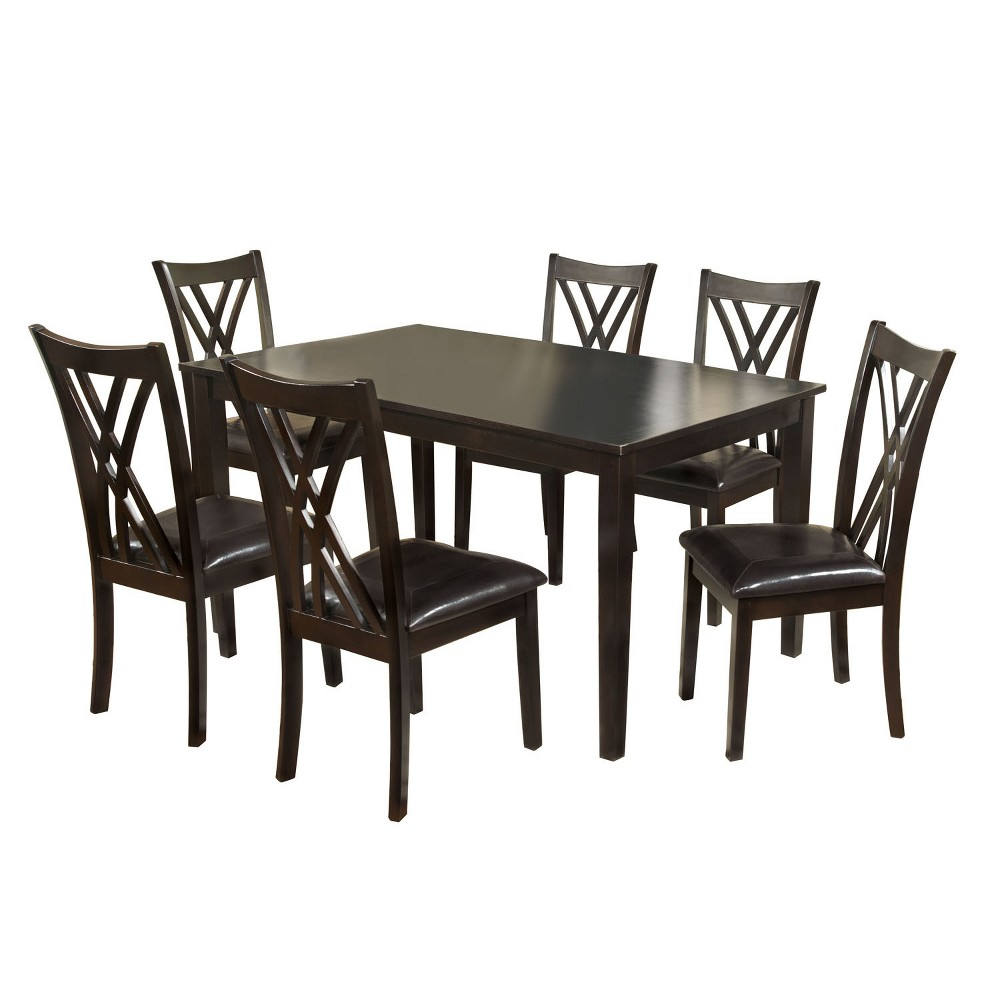 ioHomes 7pc Crisscrossed Back Chair And Dining Table Set Wood/Espresso (Brown)