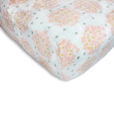 SwaddleDesigns® Cotton Muslin Crib Sheet - Pink Heavenly Floral Shimmer