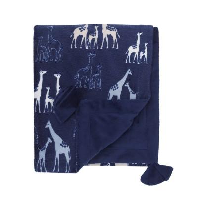 NoJo Serendipity Navy Giraffe Print Plush Baby Blanket