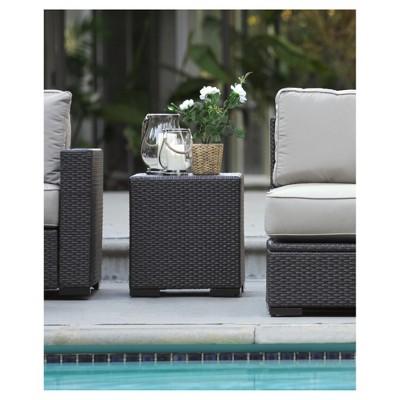 Laguna Square Wicker Patio Side Table - Brown - Serta