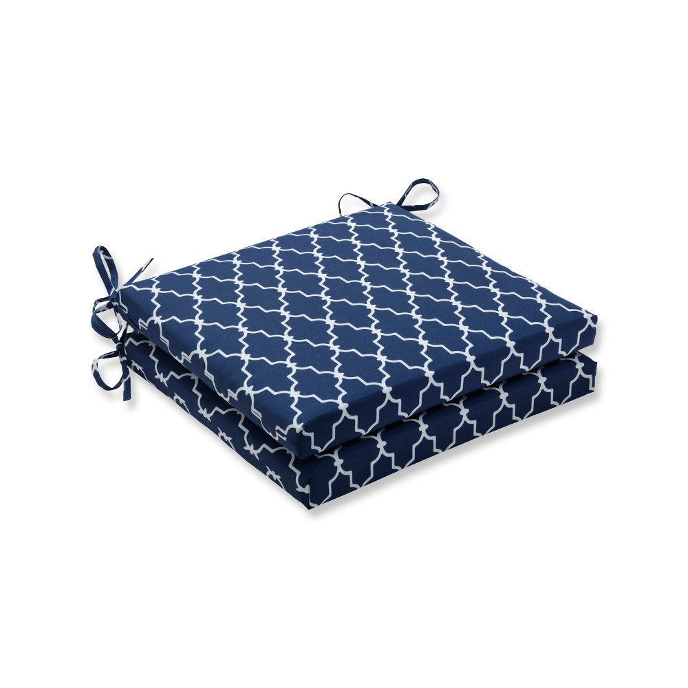 Garden Gate 2pc Indoor/Outdoor Squared Corners Seat Cushion - Navy - Pillow Perfect, Blue