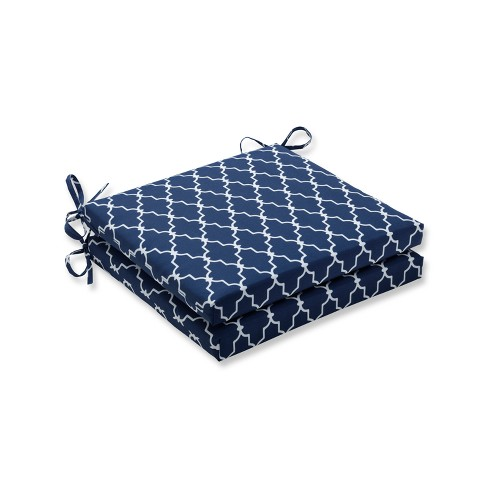 Garden Gate 2pc Indoor/Outdoor Squared Corners Seat Cushion - Navy - Pillow Perfect - image 1 of 1