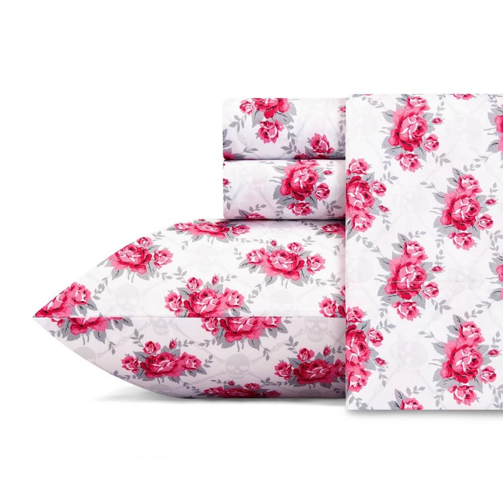 Image of Full Printed Pattern Microfiber Sheet Set Pink Rose - Betseyville, Pink Pink