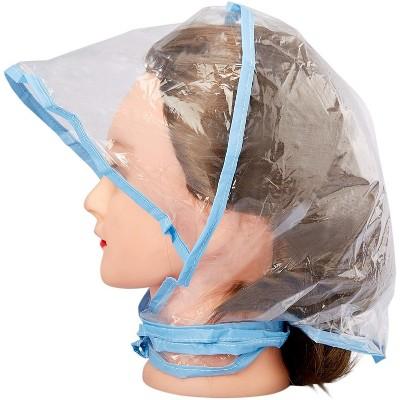 Juvale 12 Pack Clear Waterproof Rain Bonnet Hat with Visor, Transparent with Blue Trim Rain Wear