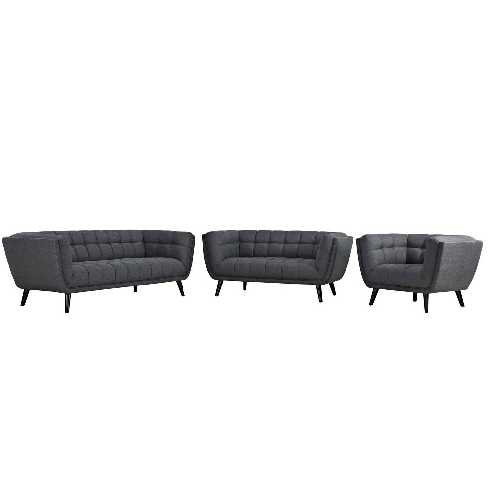 3pc Bestow Upholstered Fabric Sofa Loveseat and Armchair Set Gray - Modway