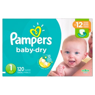 Pampers Baby Dry Diapers Super Pack Size 1 (120 ct)