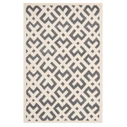 Dark Gray/Ivory Geometric Tufted Area Rug 5'X8' - Safavieh - image 1 of 2