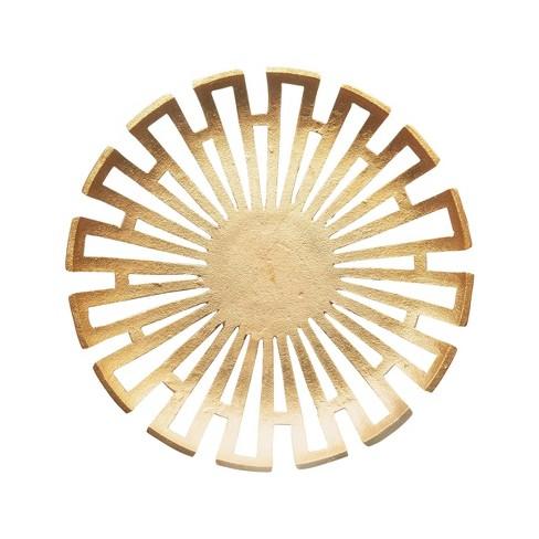 "15"" x 3"" Decorative Aluminum Platter Gold - 3R Studios - image 1 of 3"