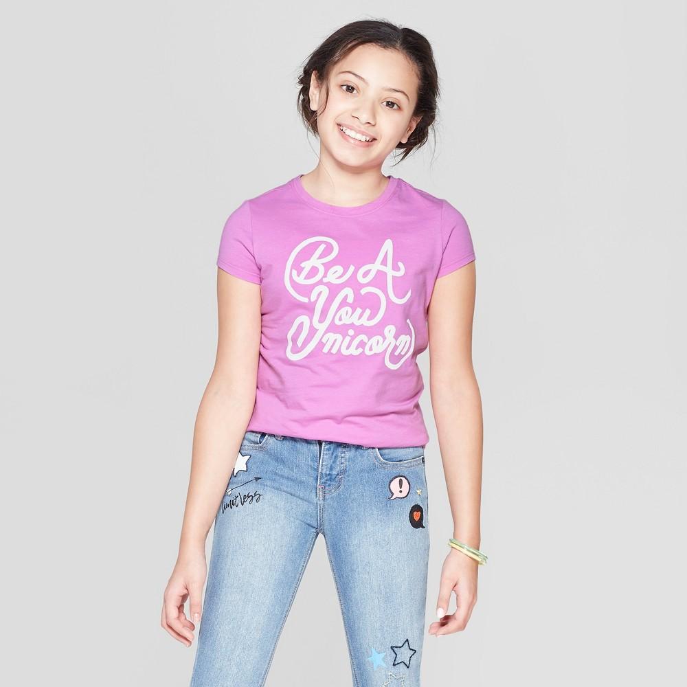 Girls' Short Sleeve Be A You-nicorn Graphic T-Shirt - Cat & Jack Purple XL