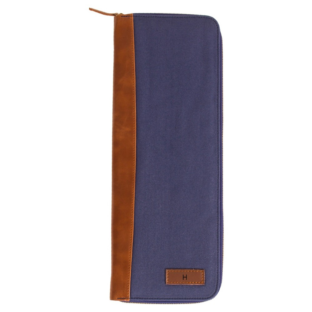 Monogram Groomsmen Gift Travel Tie Case Jewelry Box - H, Blue Brown