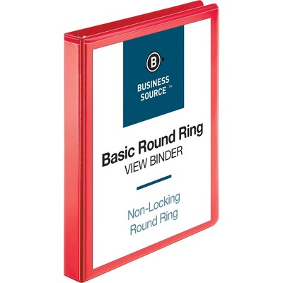 "Business Source View Binder Round Ring 1"" Red 09966"