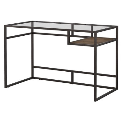48W Anthropology Glass Top Writing Desk with Shelf Rustic Brown Embossed - Bush Furniture
