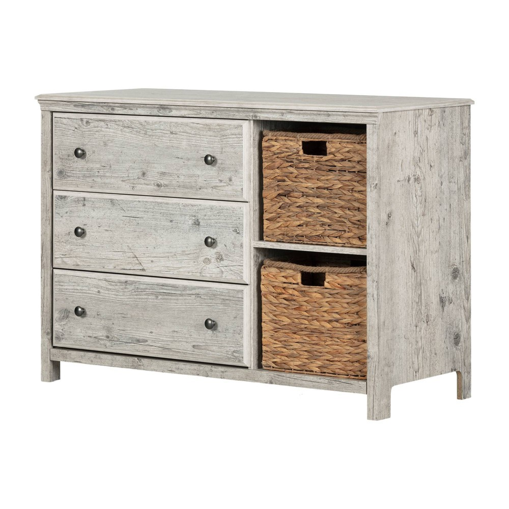 Image of Cotton Candy 3-Drawer Dresser with Baskets Seaside Pine - South Shore