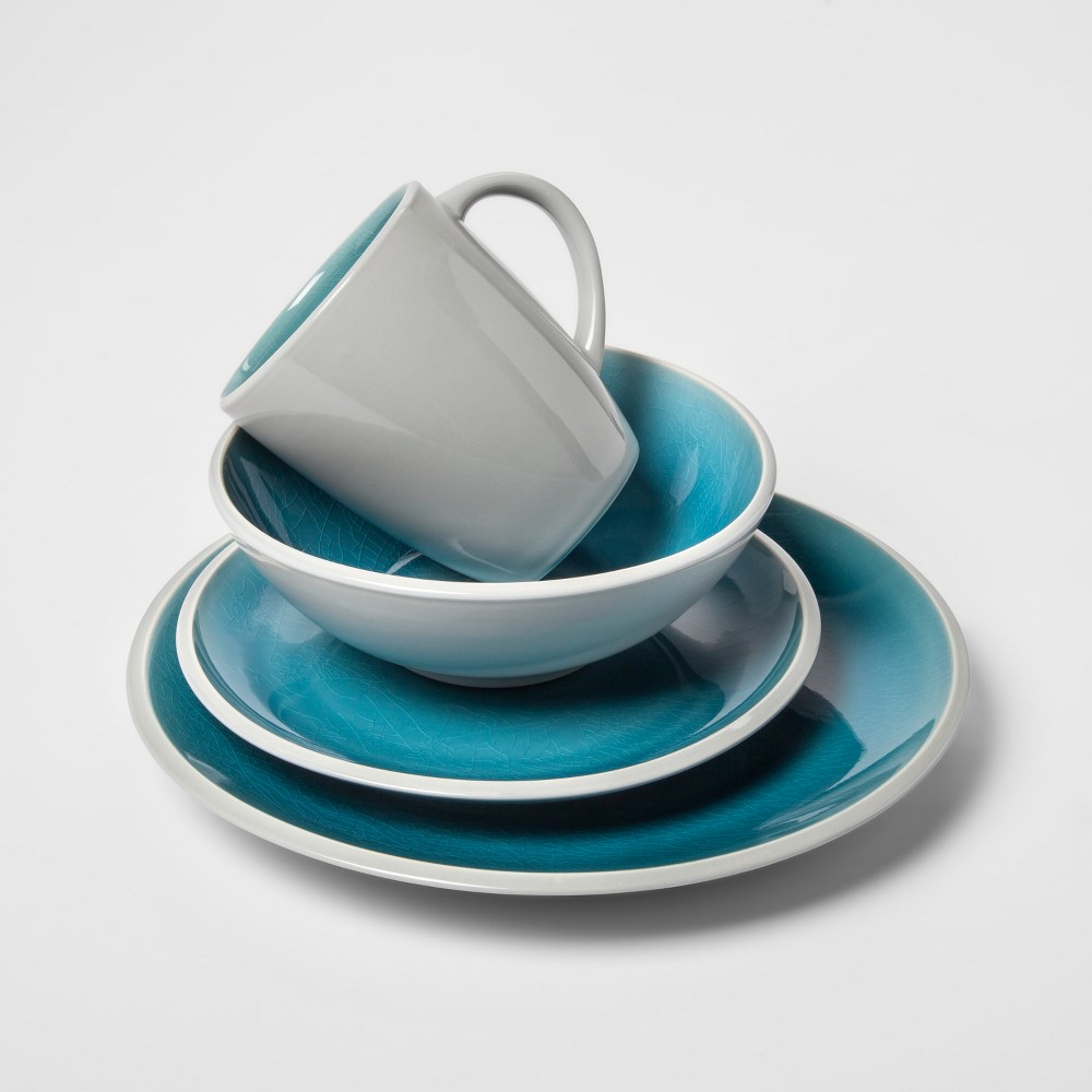Portel Stoneware 16pc Dinnerware Set Teal - Project 62