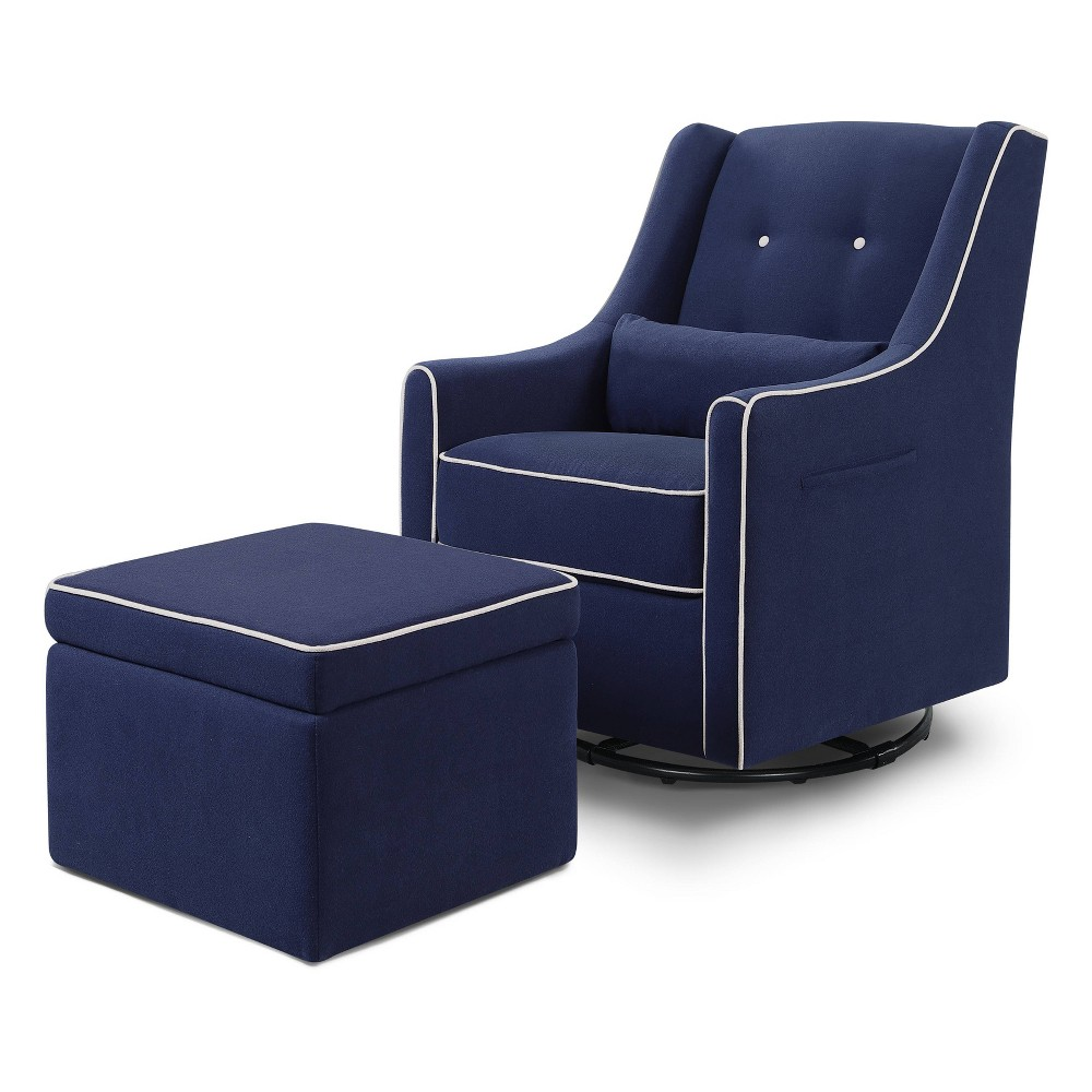 Image of Davinci Owen Glider And Ottoman - Navy With Cream Piping, Blue/Ivory