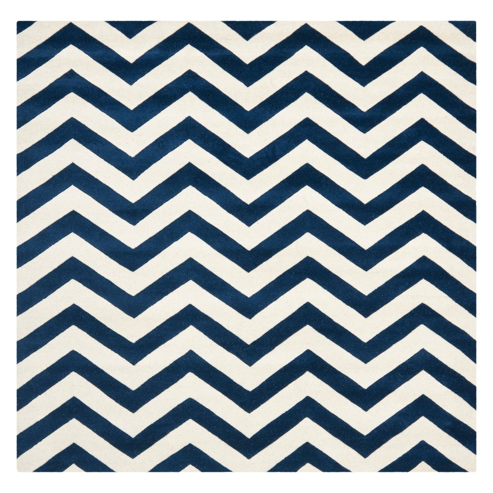 7'X7' Chevron Square Area Rug Dark Blue/Ivory - Safavieh