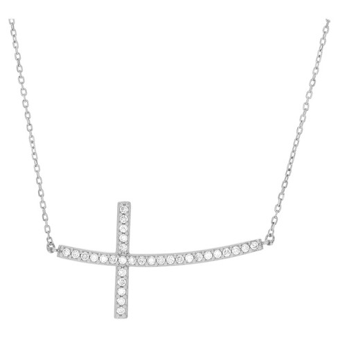 "1/3 CT. T.W. Round-cut CZ Sideways Cross Pave Set Pendant Necklace in Sterling Silver - Silver (18"") - image 1 of 2"