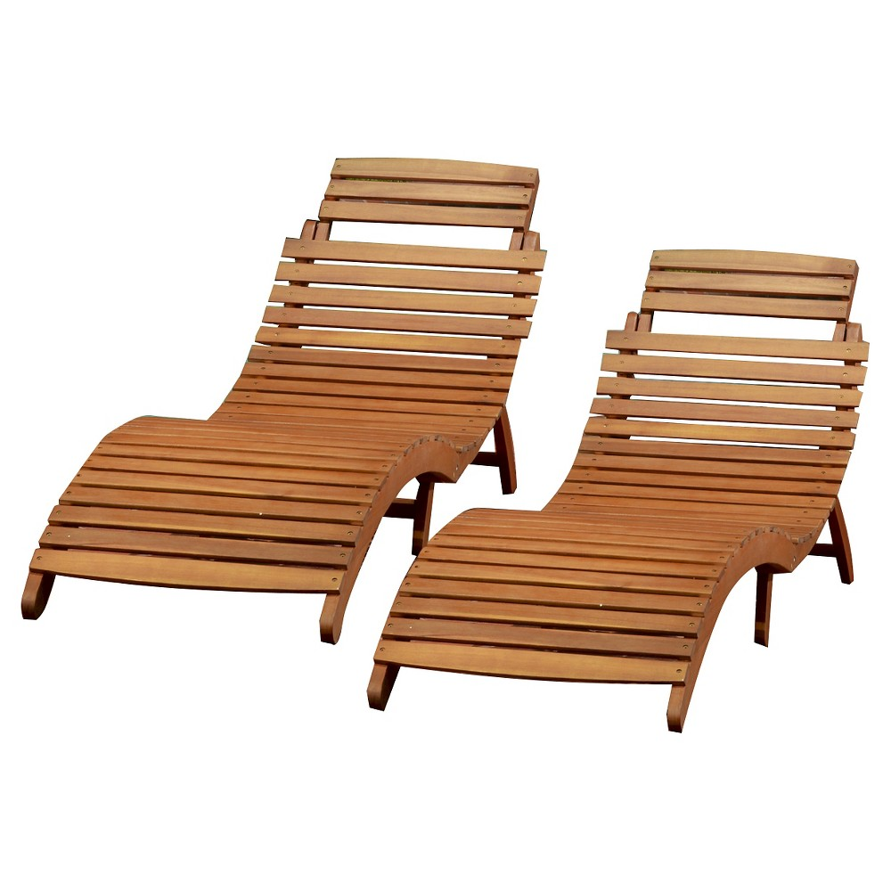 Lahaina Set of 2 Acacia Wood Patio Chaise Lounge - Natural Yellow - Christopher Knight Home